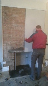 plaster board on chimney breast