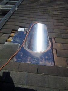 installing a twin wall flue flashing