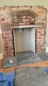lining a fireplace