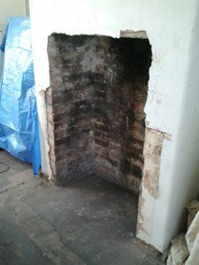 unlined fireplace