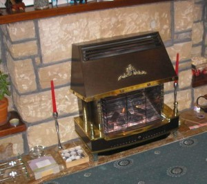 gas fire in fireplace