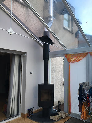 wood burning stove in a conservatory